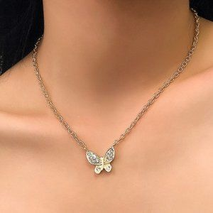 3/$20 New Gold Rhinestone Butterfly Necklace